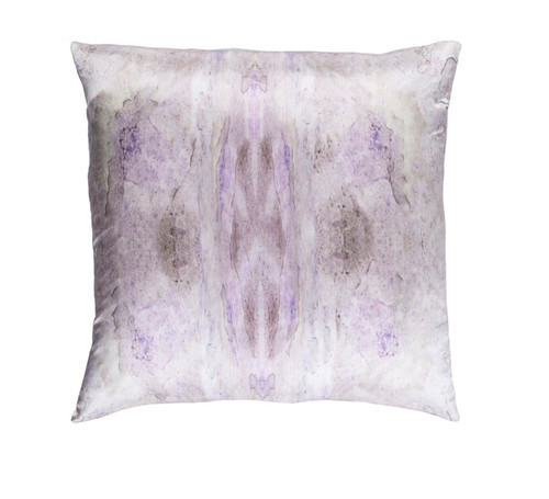 """22"""" Purple and Gray Digitally Printed Square Throw Pillow - Down Filler - IMAGE 1"""