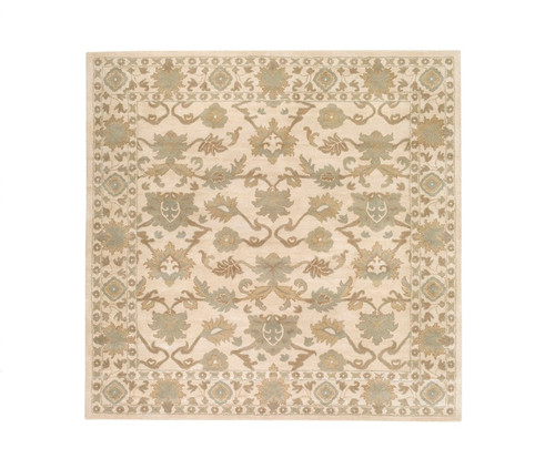8' x 8' Beige and Gray Hand Tufted Square Wool Area Throw Rug - IMAGE 1