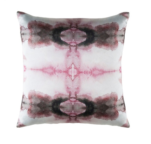 """22"""" Pink and Black Square Throw Pillow - Down Filler - IMAGE 1"""