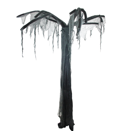 7.5' Black and Gray Spooky Standing Ghost Tree Halloween Decoration - IMAGE 1