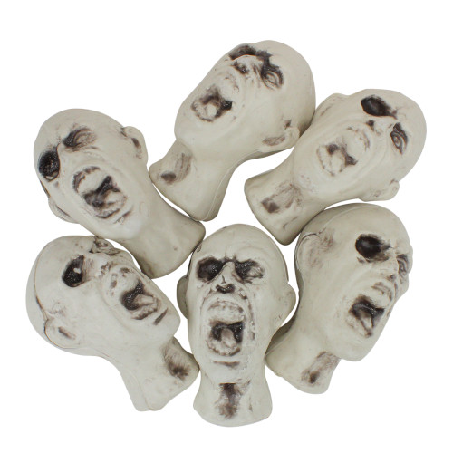 """Pack of 6 Open Mouthed Skulls Halloween Decorations 3.5"""" - IMAGE 1"""