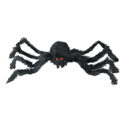 "24"" Black Fuzzy Spider with Red Eyes Halloween Table Top Decoration - IMAGE 1"