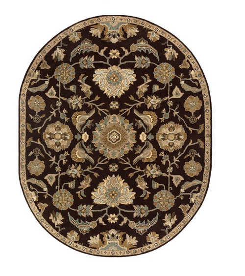 8' x 10' Brown and Blue Contemporary Wool Area Throw Rug - IMAGE 1