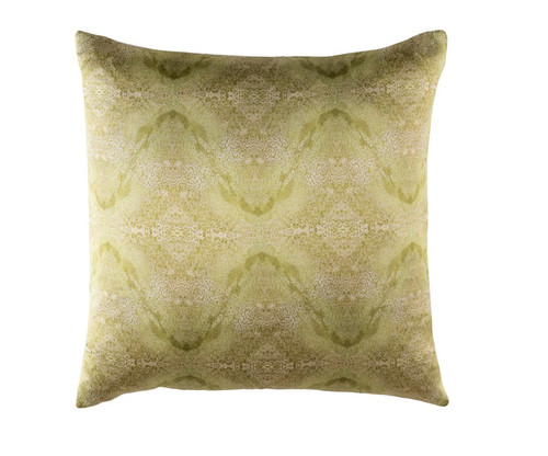 """22"""" Green Square Throw Pillow - Down Filler - IMAGE 1"""