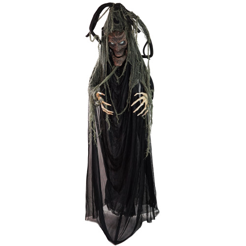"""76"""" Black Touch Activated Lighted Tree Man Animated Halloween Decor with Sound - IMAGE 1"""