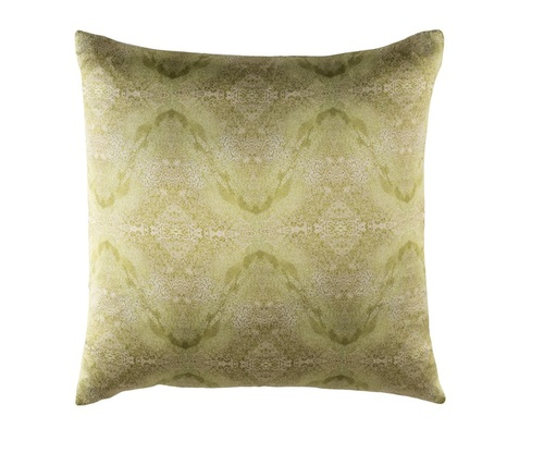 """18"""" Green Square Throw Pillow - Down Filler - IMAGE 1"""
