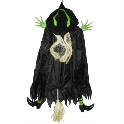 4.5' Black and Green Flying and Crashing Wicked Witch Hanging Halloween Decor - IMAGE 1