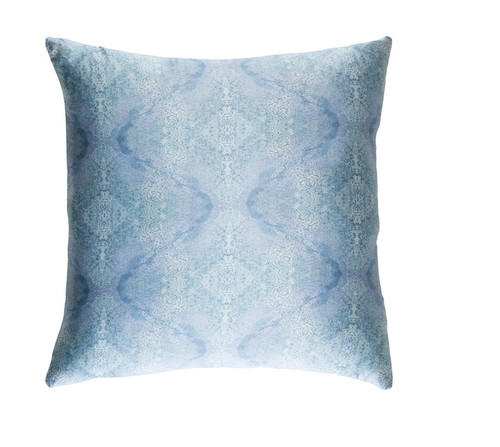 "22"" Blue Square Throw Pillow - Down Filler - IMAGE 1"