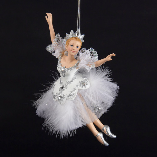 """6.5"""" Majestic Snow Queen Ballerina with White and Silver Costume Christmas Ornament - IMAGE 1"""