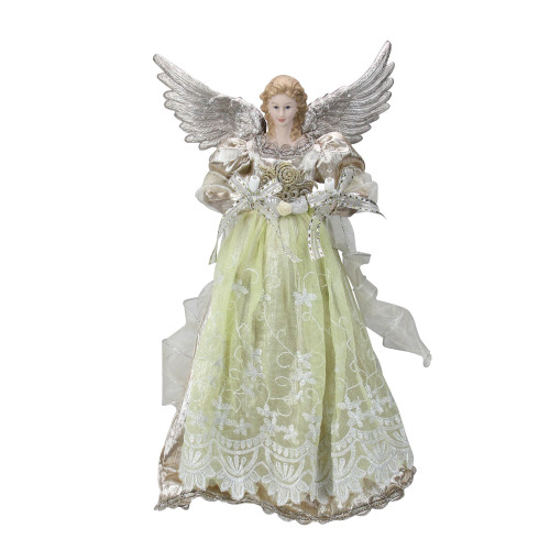 "16"" Lighted Rose Gold Angel Christmas Tree Topper - Clear Lights - IMAGE 1"