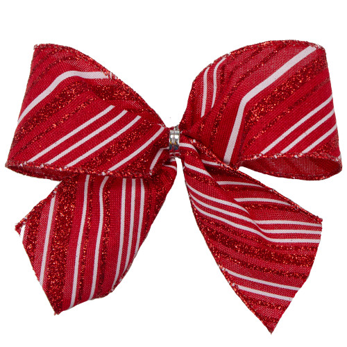 """Pack of 6 Red and White Glittered Striped Mini Christmas Bow Decors 5"""" - IMAGE 1"""