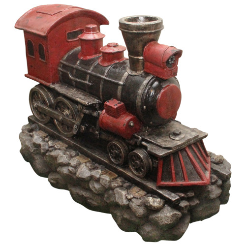 "38"" LED Red and Black Vintage Locomotive Train Outdoor Garden Water Fountain - IMAGE 1"