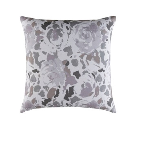 """20"""" Gray and White Blooming Raspberry Square Throw Pillow - Down Filler - IMAGE 1"""