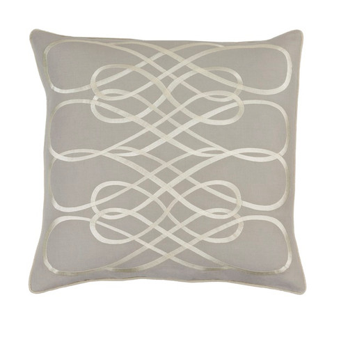 "20"" Gray and White Contemporary Square Throw Pillow - IMAGE 1"
