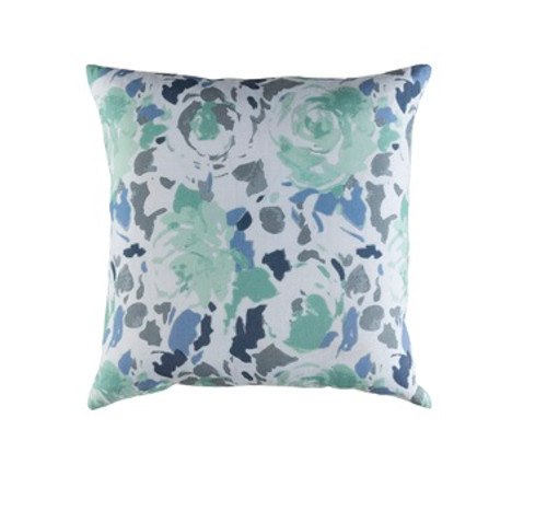 """20"""" Blue and Green Blooming Raspberry Square Throw Pillow - Down Filler - IMAGE 1"""