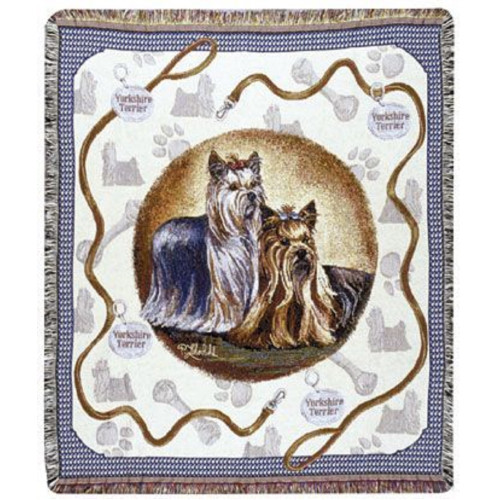 """Yorkshire Yorkie Terrier Dog Tapestry Throw By Artist Pat Lehmkuhl 50"""" x 60"""" - IMAGE 1"""