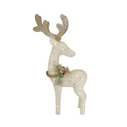 """37"""" White and Brown Standing Reindeer Outdoor Christmas Yard Decor - IMAGE 1"""