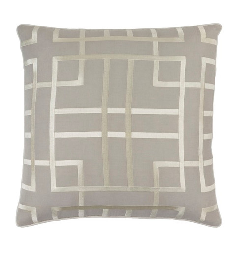 """22"""" Beige and Gray Woven Square Throw Pillow - Down Filler - IMAGE 1"""