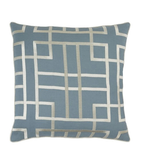 "20"" Heather Blue and Cream Woven Decorative Throw Pillow - Poly Filled - IMAGE 1"