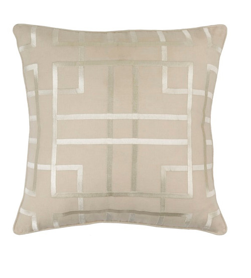 """22"""" Beige and Ivory Woven Square Throw Pillow - Down Filler - IMAGE 1"""