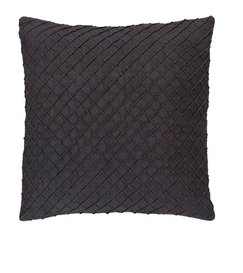 """20"""" Jetty Black Woven Decorative Throw Pillow-Down Filler - IMAGE 1"""