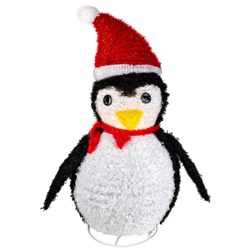 """32"""" Pre-Lit White and Red Penguin Outdoor Christmas Decor - IMAGE 1"""