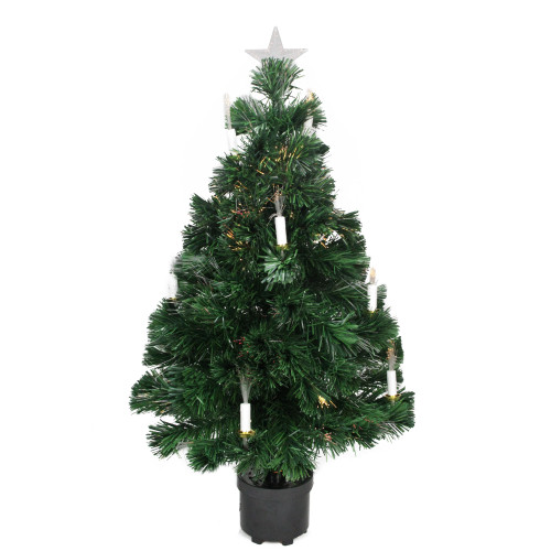 3' Pre-Lit Potted Medium Artificial Christmas Tree with Candles - Multi Color Lights - IMAGE 1