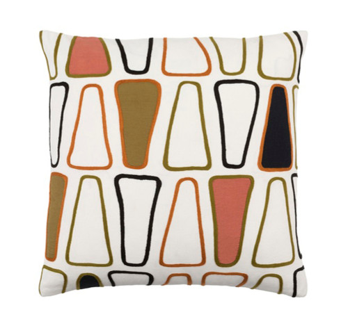 """20"""" White and Black Woven Geometric Throw Pillow - Down Filler - IMAGE 1"""