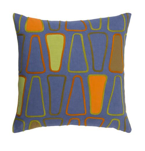 "22"" Dark Blue and Burnt Orange Square Throw Pillow - IMAGE 1"