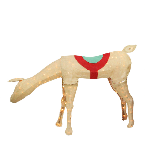 """44"""" Beige and Red Pre-Lit Feeding Reindeer Christmas Outdoor Decor - IMAGE 1"""