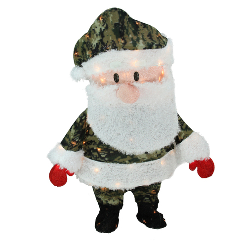 "32"" Pre-Lit Lane Camo Santa Claus Christmas Outdoor Decor - Clear Lights - IMAGE 1"