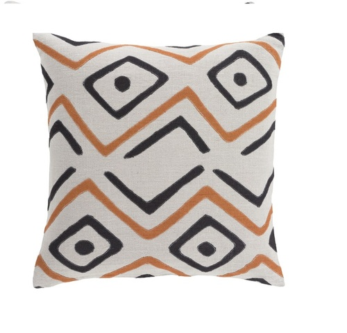 "18"" Tribal Rhythm Carnelian Orange, Cream and Polar White Woven Decorative Throw Pillow-Down Filler - IMAGE 1"