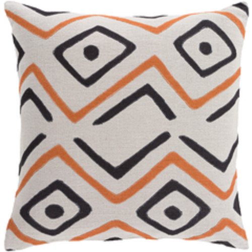 "18"" Tribal Rhythm Carnelian Orange, Cream and Polar White Woven Decorative Throw Pillow - Poly Filled - IMAGE 1"