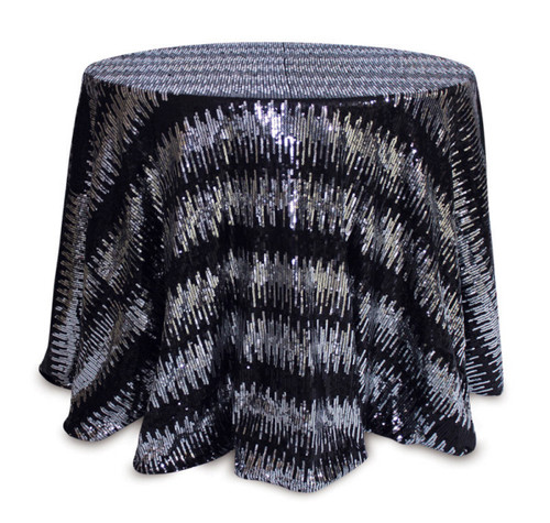 """96"""" Black and Silver Colored Round Sequined Christmas Tablecloth - IMAGE 1"""