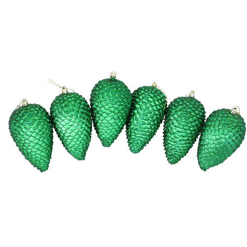"""6ct Green Shatterproof Glittered Christmas Pine Cone Ornaments 6.5"""" - IMAGE 1"""