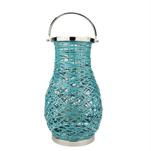 "18.5"" Modern Turquosie Blue Decorative Woven Iron Pillar Candle Lantern with Glass Hurricane - IMAGE 1"