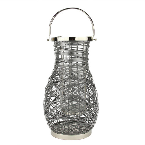 "18.5"" Modern Gray Decorative Woven Iron Pillar Candle Lantern with Glass Hurricane - IMAGE 1"