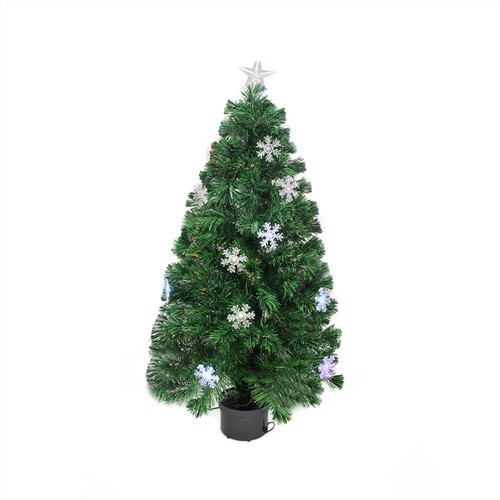 3' Pre-Lit Color Changing Fiber Optic Artificial Christmas Tree with Snowflakes - Multi Color Lights - IMAGE 1