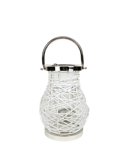 "13.5"" Modern White Decorative Woven Iron Pillar Candle Lantern with Glass Hurricane - IMAGE 1"
