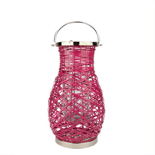 "18.5"" Modern Fuchsia Pink Decorative Woven Iron Pillar Candle Lantern with Glass Hurricane - IMAGE 1"