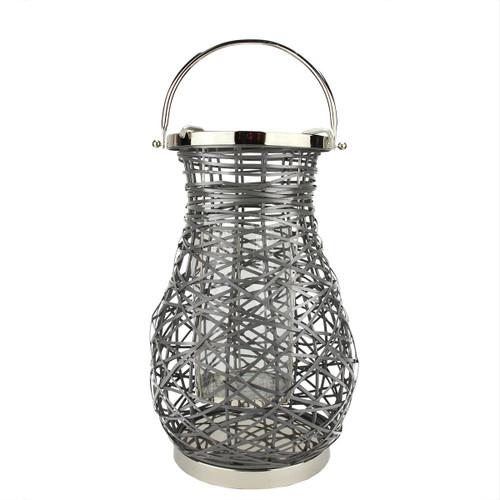 "16.25"" Modern Gray Decorative Woven Iron Pillar Candle Lantern with Glass Hurricane - IMAGE 1"