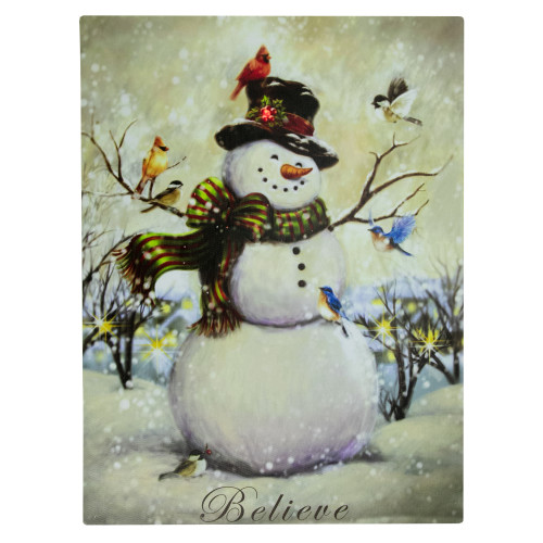 """LED Lighted Snowman and Bird Friends Christmas Canvas Wall Art 15.75"""" x 11.75"""" - IMAGE 1"""