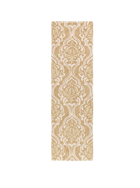 2.5' x 8' Damask Beige and Ivory Hand Hooked Area Throw Rug Runner - IMAGE 1