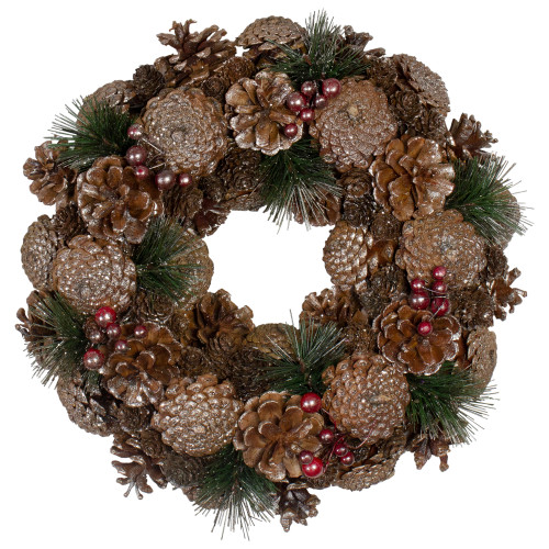 """12"""" Pine Cone and Berries Glitter Artificial Christmas Wreath - Unlit - IMAGE 1"""