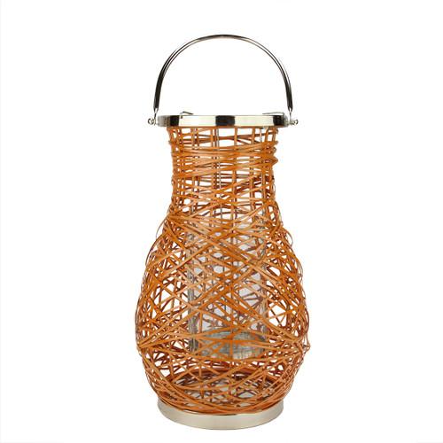"16.25"" Modern Orange Decorative Woven Iron Pillar Candle Lantern with Glass Hurricane - IMAGE 1"