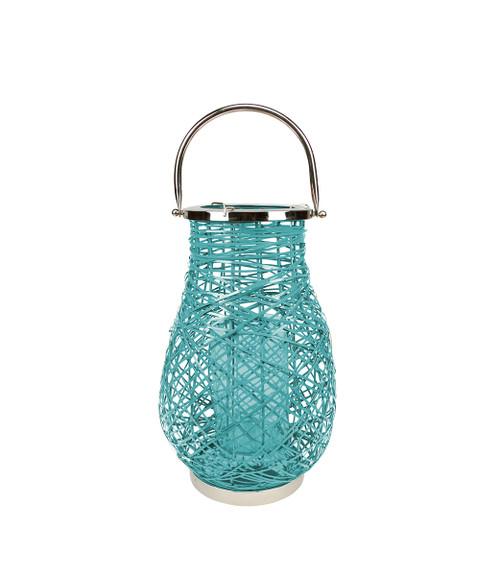 "16.25"" Modern Turquoise Blue Decorative Woven Iron Pillar Candle Lantern with Glass Hurricane - IMAGE 1"