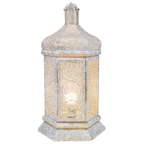 """21.5"""" White and Gold Moroccan Style Lantern Table Lamp - IMAGE 1"""