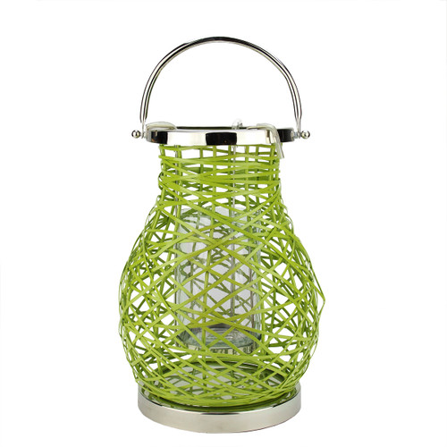 "13.5"" Modern Green Decorative Woven Iron Pillar Candle Lantern with Glass Hurricane - IMAGE 1"