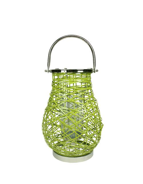 "16.25"" Modern Green Decorative Woven Iron Pillar Candle Lantern with Glass Hurricane - IMAGE 1"