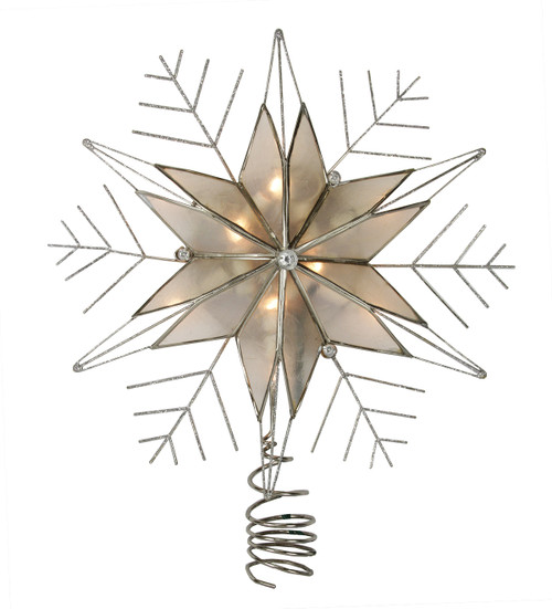 """10.5"""" Lighted Capiz Star with Silver Snow Flake Christmas Tree Topper - Clear Lights - IMAGE 1"""